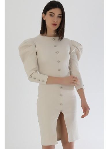 Emjey Önü Ve Kolları Düğme Detay Karpuz Kol Elbise Bej